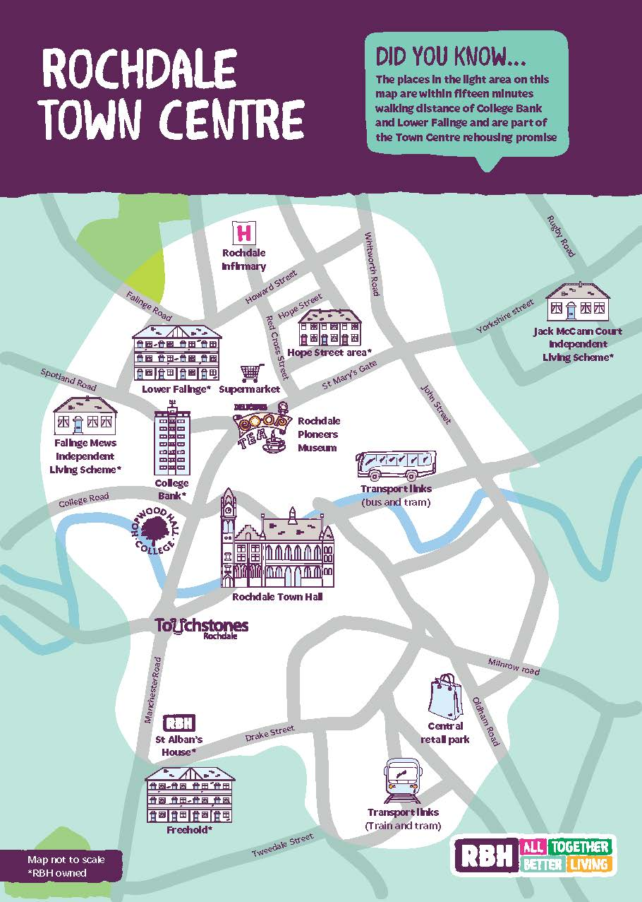 Map of Rochdale town centre area